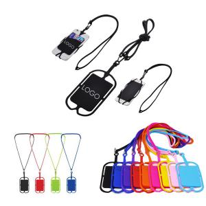 Silicone Lanyard with Phone Card Pouch