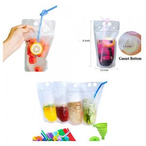BDAN1008-Transparent Hand-held Reclosable Zipper Drinking Pouches Bags